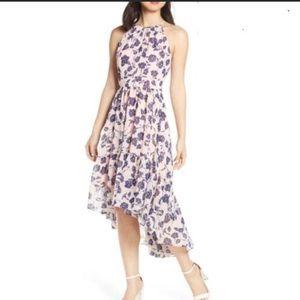 Eliza J Floral Ruffle Hem Hi Lo Halter Dress